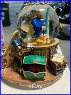 1991 Disney Beauty and The Beast Musical Snow Globe Light Up Fireplace Works