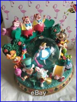 DISNEY Alice in Wonderland Rotating Snow Globe Music Box Figure Dancing Singing
