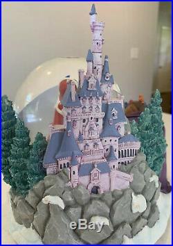 Disney BEAUTY AND THE BEAST Musical Snow Globe Bird Feeding Scene Winter