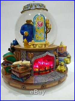 Disney Beauty And The Beast Flickering Lighted Fireplace Music Box Snow Globe