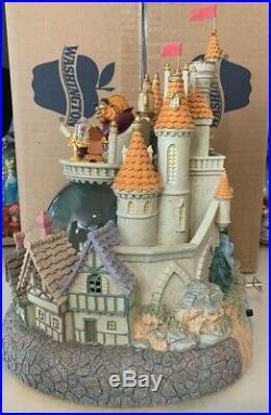 Disney Beauty & Beast Belle Castle Snow Globe Lights Music Blower Vintage RARE