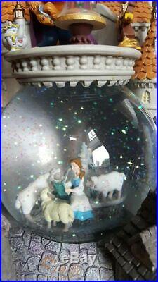 Disney Beauty and the Beast Castle Snow Globe Lights Music Blower Vintage RARE