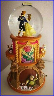 Disney Beauty and the Beast Music Snow Globe Pedestal Prince & Belle Very Rare