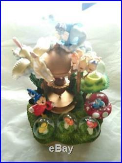 Disney Mickey Fantasia Light Up Snow Globe Snow Dome Figure Rare Music Box