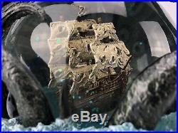 Disney Pirates of the Caribbean Dead Mans Chest Snow Globe Music Box NICE