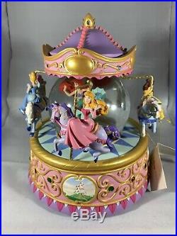 Disney Princess Carousel Musical Snow Globe With Original Box