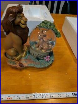 Disney Snow Globe Lion King MUFASA AND SIMBA Musical Cant Wait King RARE Box HTF