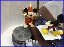 Disney Store Mickey Mouse Through The Years RARE Snow Globe BLOWER & MUSIC MIB