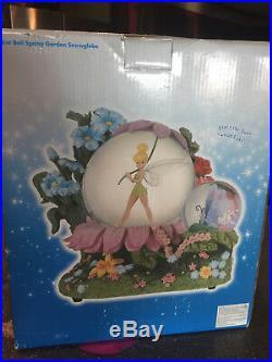 Disney TINKER BELL SPRING GARDEN Musical Snow Globe NIB Peter Pan Hook