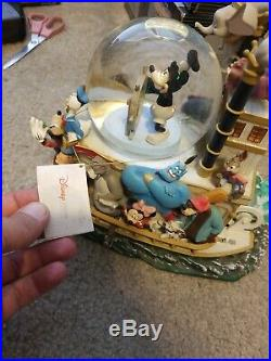 Disney's 75th Mickey Mouse March Musical Snow Globe/Steamboat Willie Lights up