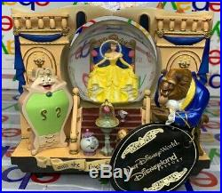 Disney's Beauty and the Beast Belle 2 Sided Musical StoryBook Snow Globe RARE