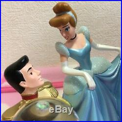 Disney store Japan Cinderella snow globe glass shoes dome figure with music box