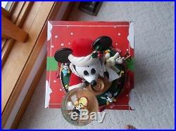 Genuine Disney Santa Mickey Mouse Big Figure Carousel Music Box with Snow globe