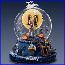 NEW Disney Tim Burton's Nightmare Before Christmas Musical Glitter Snow Globe