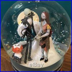 Nightmare Before Christmas Snow Globe Disney Store Musical Jack Sally Zero