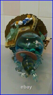 RARE DISNEY Lonesome Ghost Donald Duck Mickey Mouse Goofy Water Globe Music Box