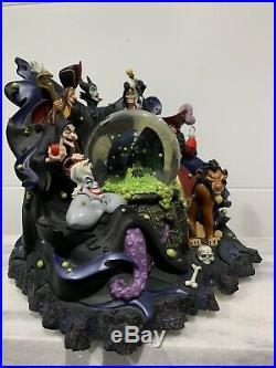 RARE Disney Parks VILLAINS Evil Musical Snow Globe. Maleficent Captain Hook