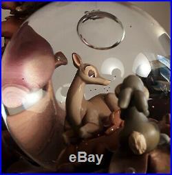 RARE Disney Store Exclusive 60th Anniversary BAMBI Gold Snow Globe Music Box