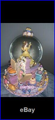 Rare 1991 Disney Beauty and the Beast Belle Musical Snow Globe Be Our Guest'