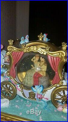 Rare Disney Cinderella Snow Globe Wedding Carriage In Box Musical