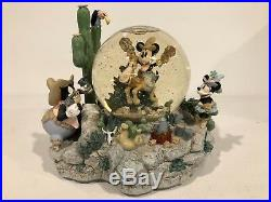 Rare Disney Mickey Home On The Range Snow Globe Lights Up, Music, Animated