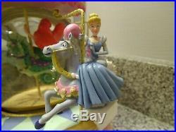 Rare Disney Multi Princess Carousel Musical Snow Globe In Box Ariel Cinderella