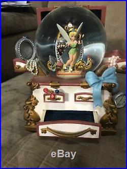 Rare Disney Peter Pan Tinkerbell Music Box Snow Globe Figurine You Can Fly