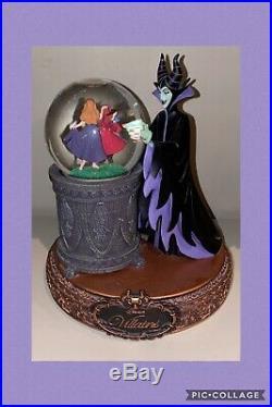 Rare Maleficent Aurora Disney Villains Musical Snowglobe snow Globe