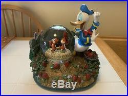 Rare Retired Disney Cinderella & Donald Duck Musical Snow Globe Collectors Item