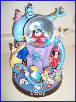 Wonderful World Of Disney RARE LIGHTED Musical Snow Globe Retired! 11 Tall